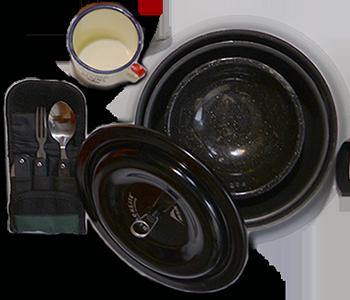 Cooking Pot, Cup, Utensils